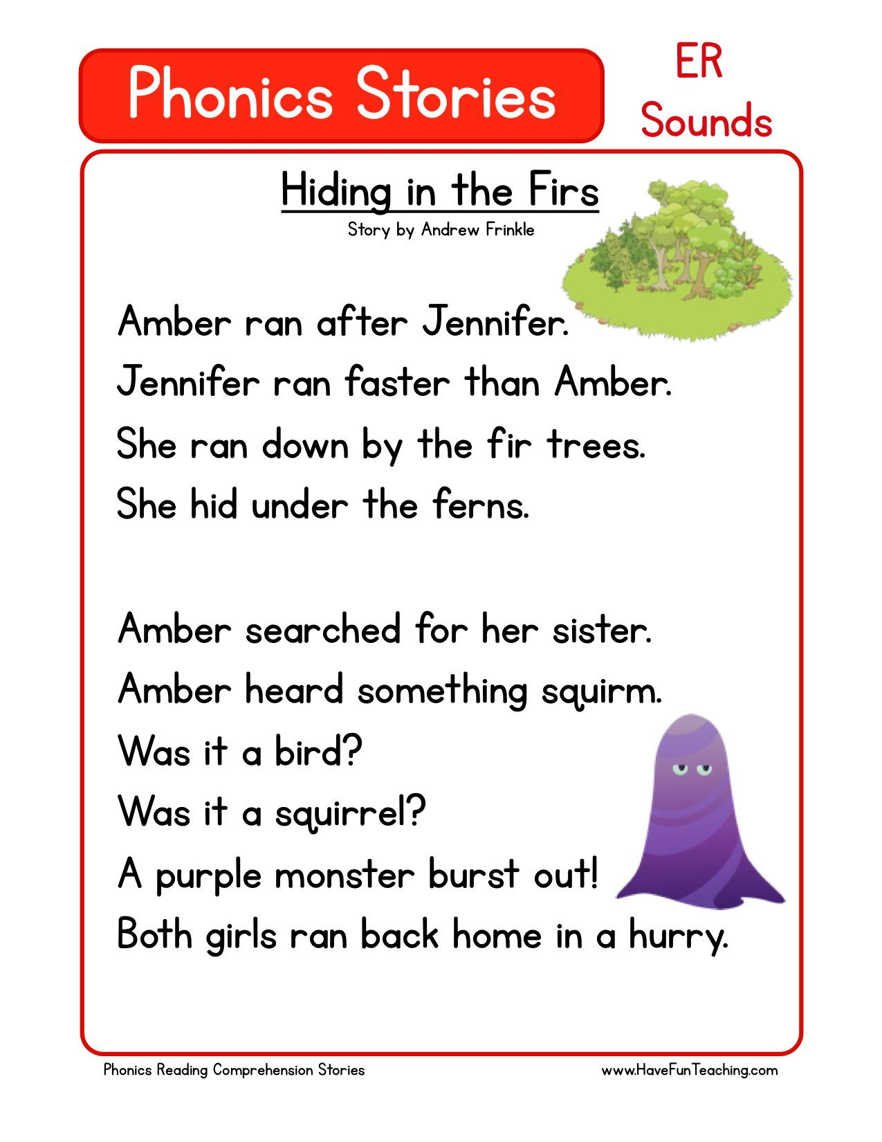 Worksheets Kindergarten Story this reading comprehension worksheet hiding in the firs is for teaching use