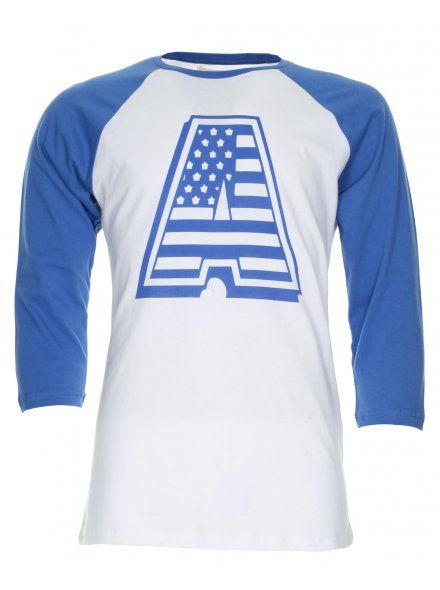 Another Influence Mens White & Blue American Letter T-Shirt