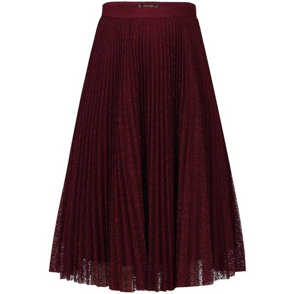 Jolie Moi Lace Pleated A-line Skirt (£32) ❤ liked on Polyvore featuring skirts, burgundy, clearance, burgundy skirt, pleated midi skirt, purple pleated skirt, a line midi skirt and burgundy midi skirt