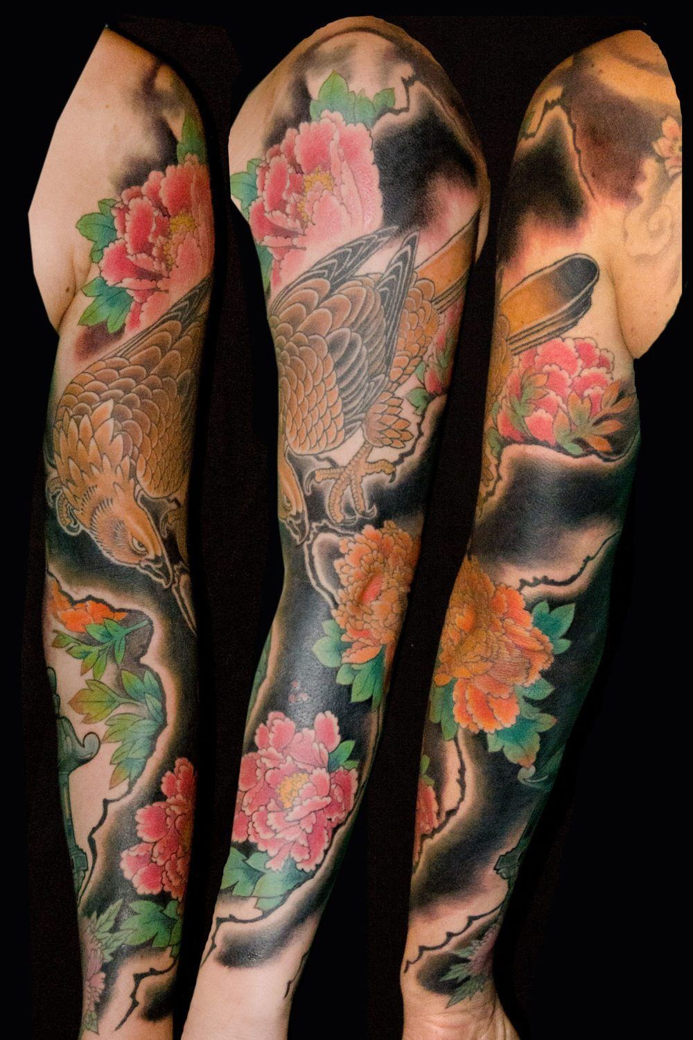 a3a2784ec7153 Birds Flowers Hawks/Eagles Japanese Sleeve Tattoo - Slave to the Needle