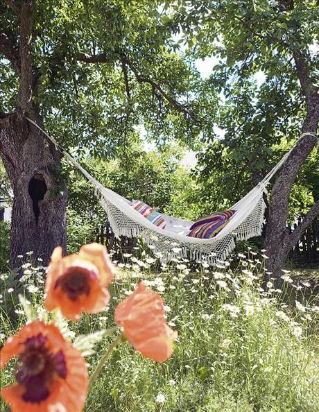 Summer garden, hammock & trees beautiful for a piece of me time with a book…