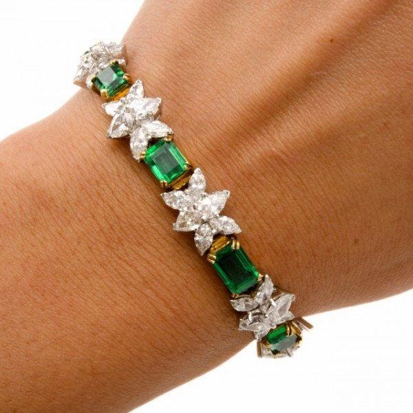 Vintage 24.65ct Diamond & Emerald Platinum Bracelet by DoverJewelry on Etsy https://www.etsy.com/listing/263067283/vintage-2465ct-diamond-emerald-platinum
