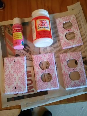 Diy outlet covers scrap book paper mod podge cute for for Arts and crafts outlet covers