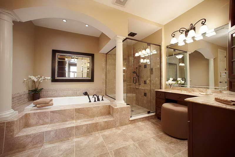 Best Photo Gallery Websites Beautiful master bath Love the hardwood tiles gorgeous shower and freestanding tub u Pinteres u