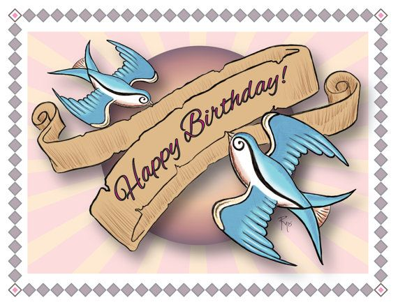 Tattoo Flash Art Birthday Card Happy Birthday Swallows Etsy Card Tattoo Birthday Cards Flash Tattoo
