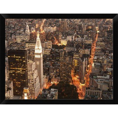 East Urban Home U0027Aerial View Of Manhattan With Flatiron Building NYCu0027 Framed  Graphic Art Print Size: | Products | Pinterest | Graphic Art And Products