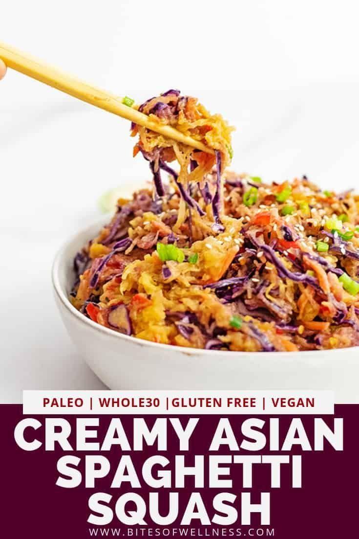 Receta vegana cremosa de calabaza espagueti asiática (baja en carbohidratos, entera30)