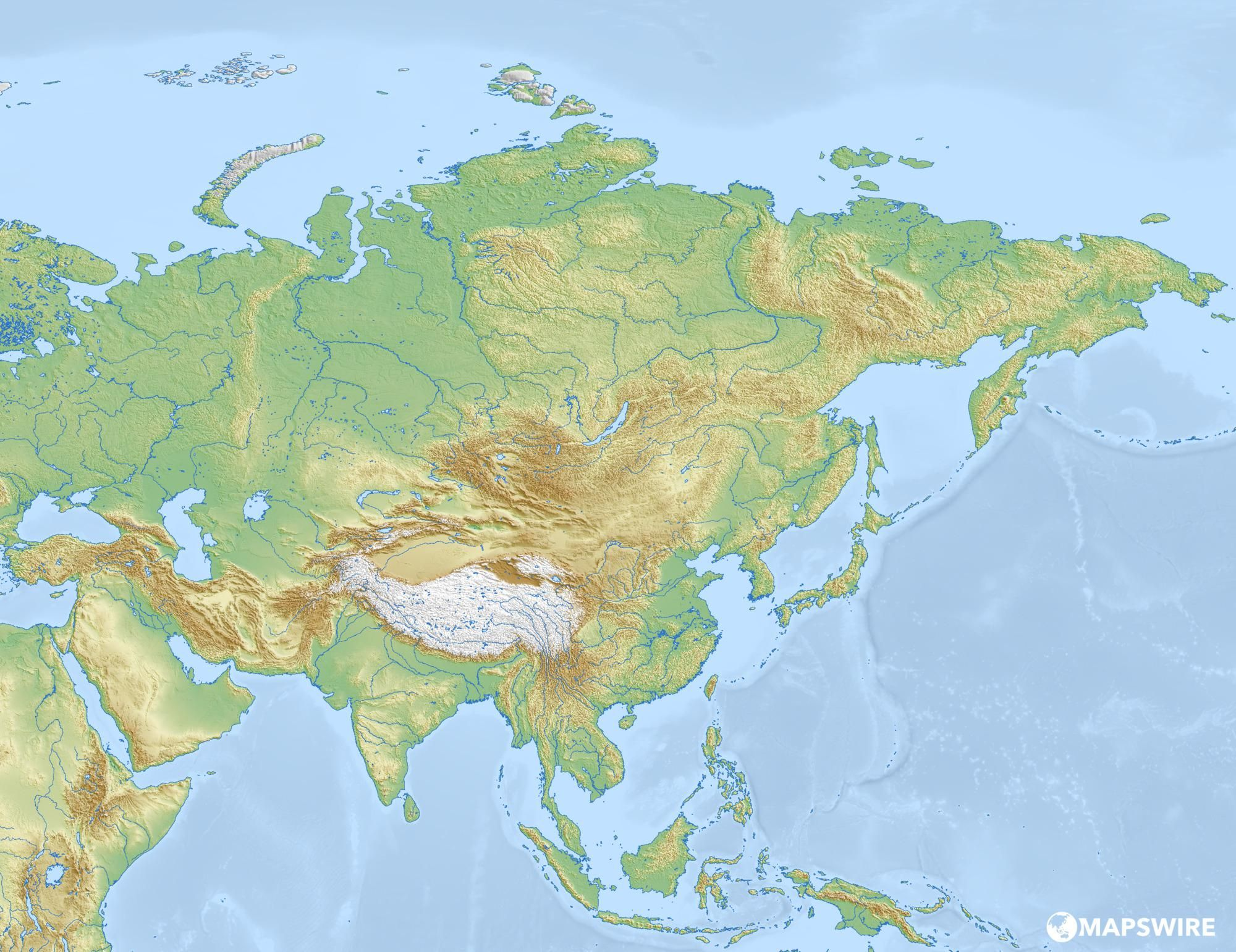 Free Physical Maps Of Asia Mapswire