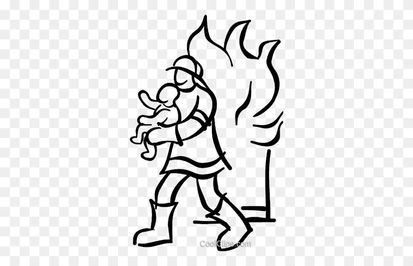 312x480 Fireman Saving A Baby Royalty Free Vector Clip Art Illustration Firefighter Clipart Blac Firefighter Clipart Clipart Black And White Illustration Art