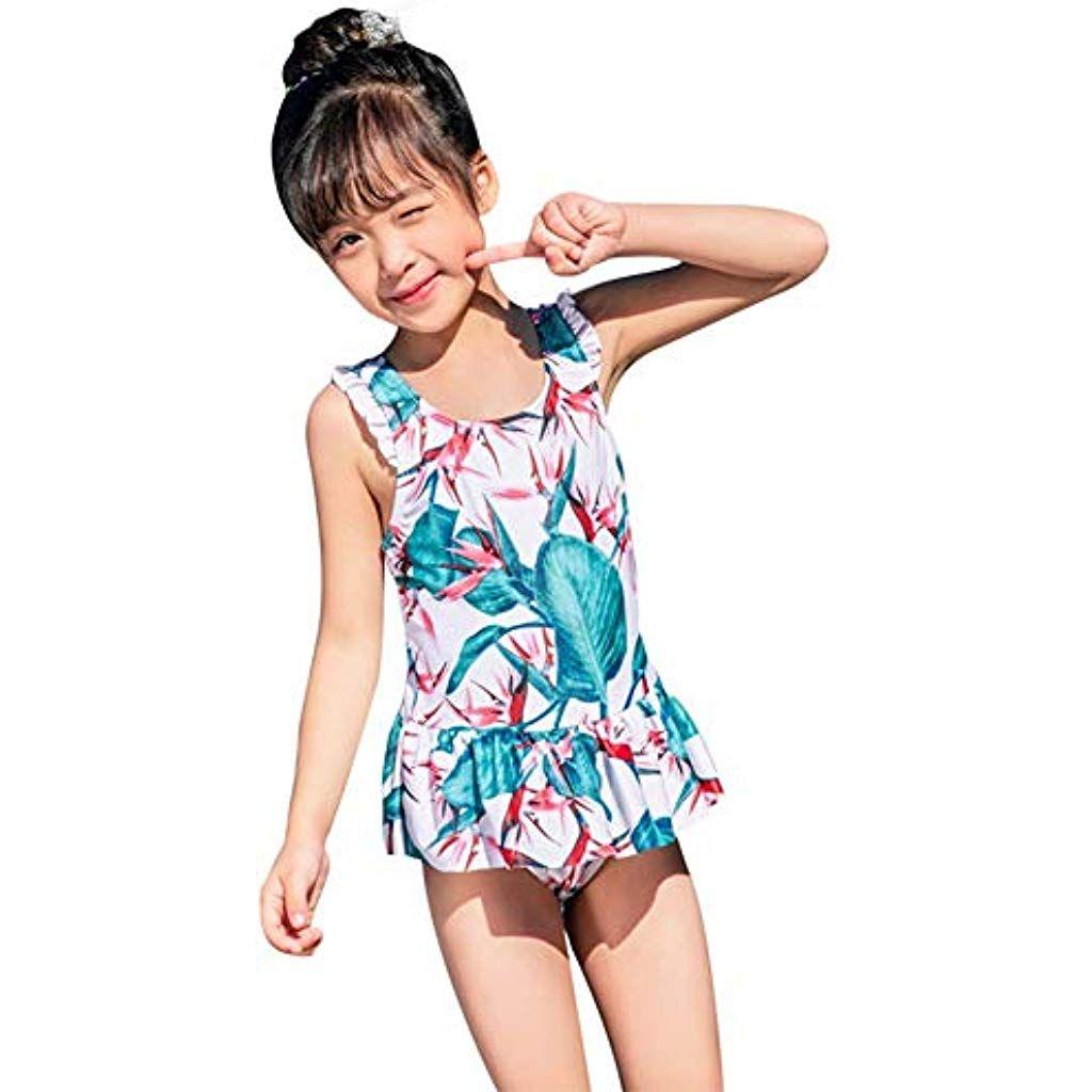 Infant Baby Girl Floral Ruffled Swimsuit Swimwear Bathing Suit Rash Guard Bikini