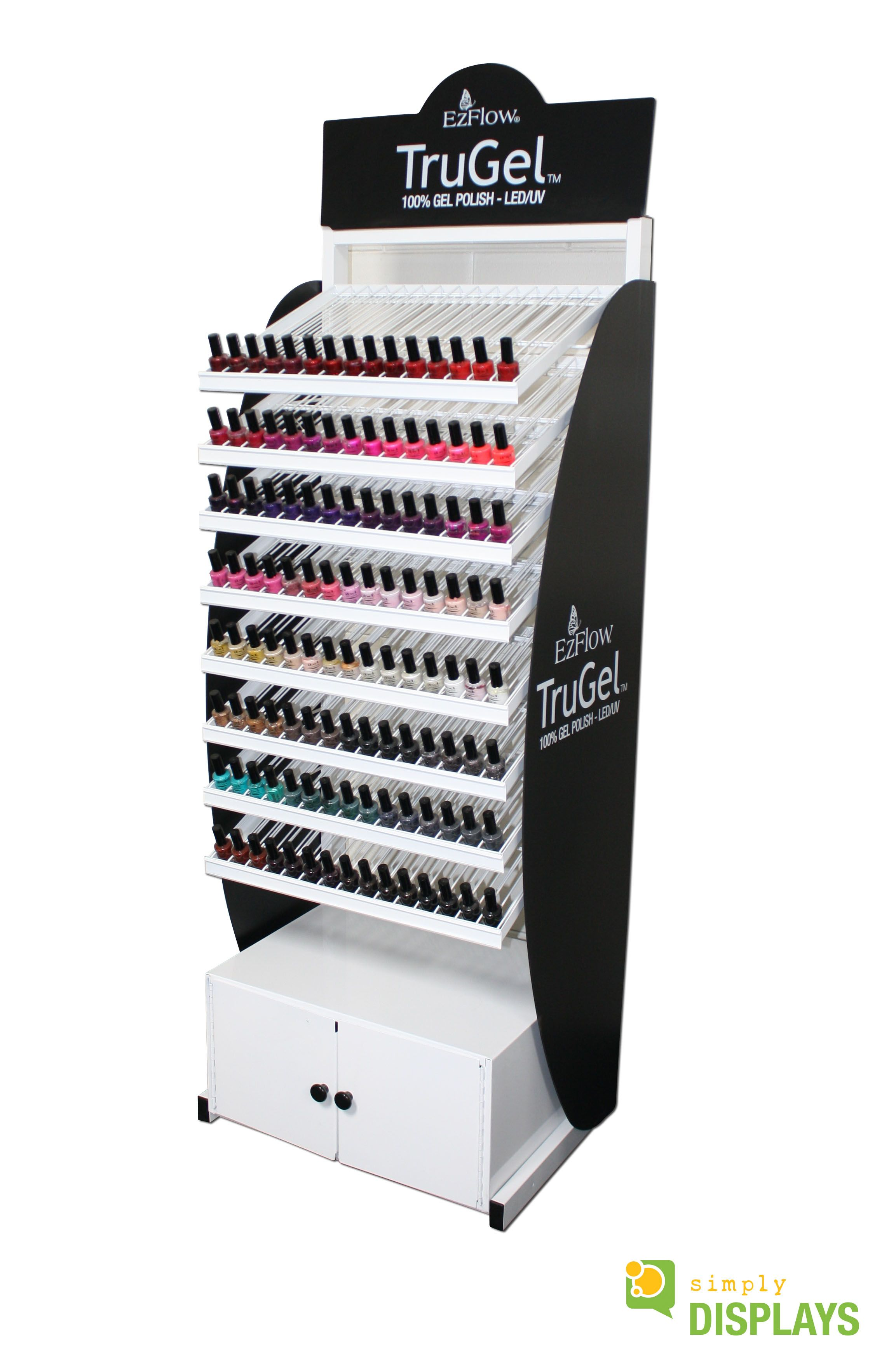 Cosmetic Displays, wire shelves with sheet metal cabinet and expanded PVC graphics