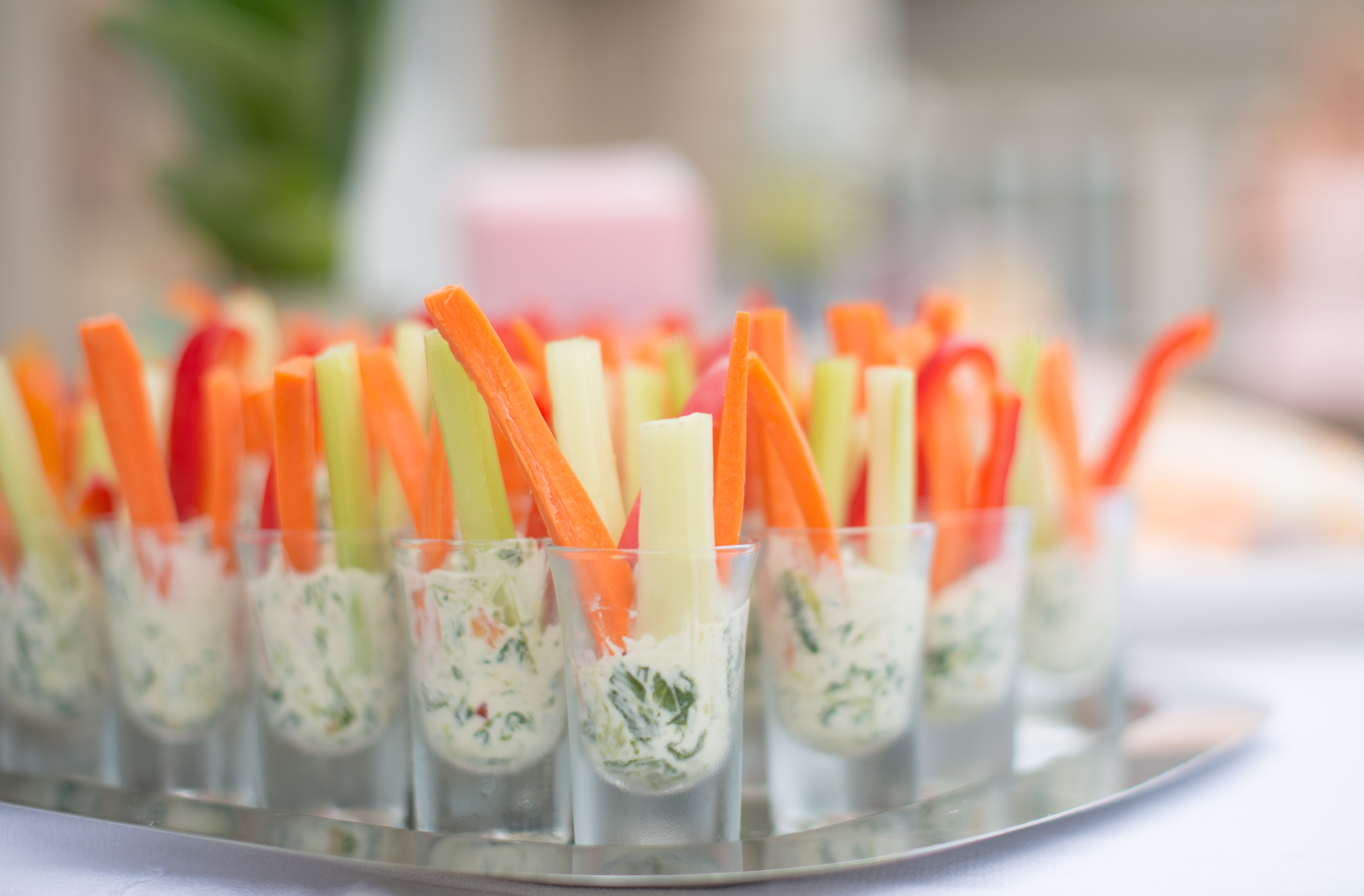 Bridal Shower Menu Veggie And Dip Shot Glasses Mini Appetizers