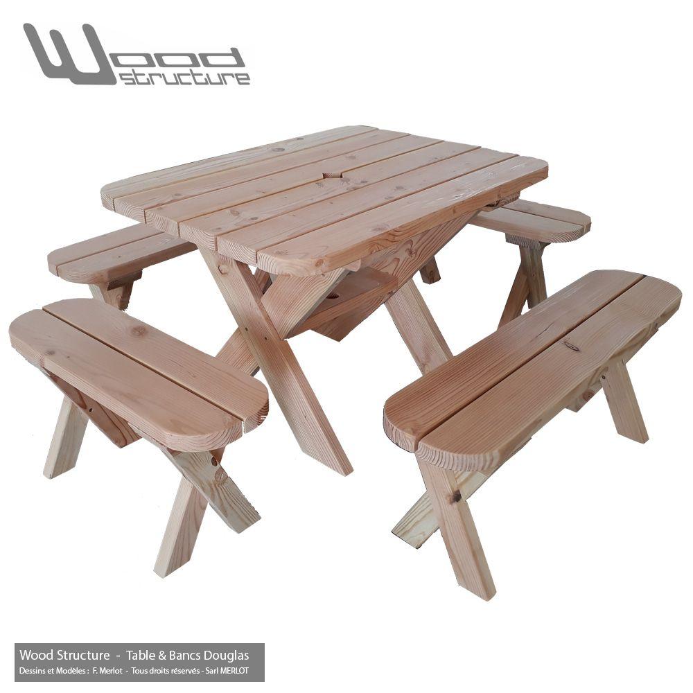 Table avec bancs - Table de pique-nique | Mobilier Bois | Picnic ...