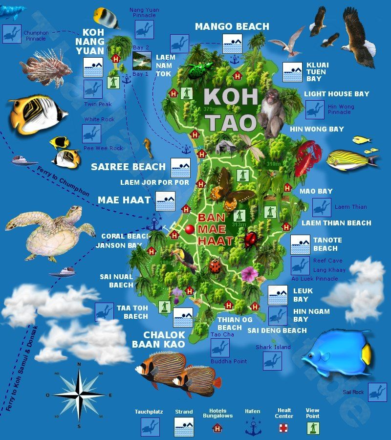 Karte Island.Map Koh Tao Turtle Island Located In The Gulf Of Thailand To