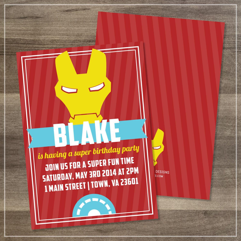 Printed Superhero Iron Man Birthday Party Invitation