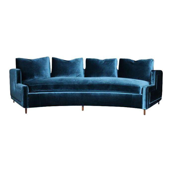 Pierre Curved Velvet Sofa With Images Blue Velvet Sofa Curved