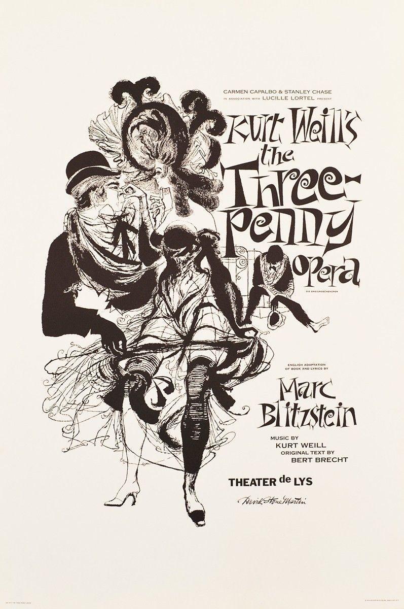Kurt Weil S Three Penny Opera Poster Theater De Lys 1974 Design David Stone Martin