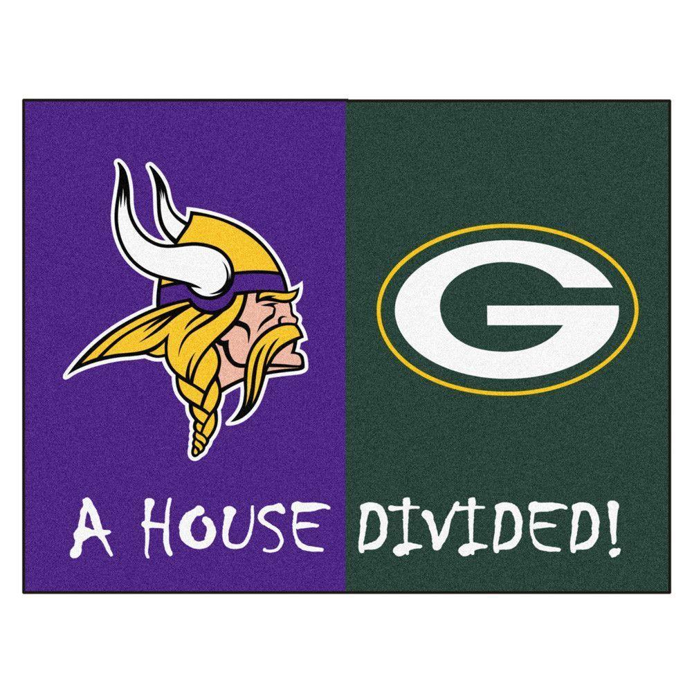 Green Bay Packers Vs Minnesota Vikings Rivalry Rug Vikings Packers Minnesota Vikings Nfl Vikings