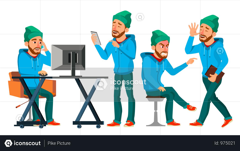 Premium Businessman Working In Office On Desk Illustration Download In Png Vector Format Business Illustration Business Stock Images Work Cartoons