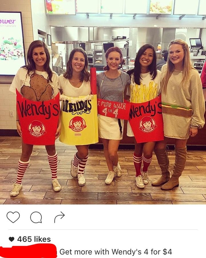 group halloween costume wendys 4 for 4 - Group Of 4 Halloween Costume