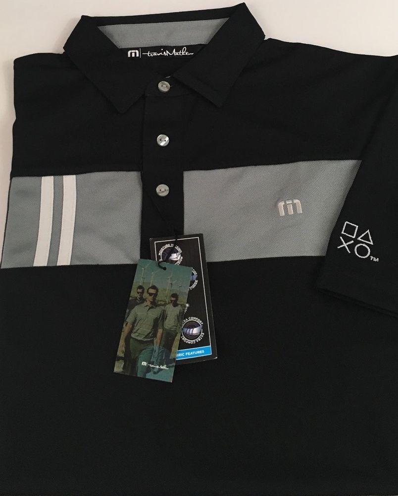 Travis Mathew Men's Short Sleeve Polo Shirt Kloss Medium Black New Geometric NWT #TravisMathew #PoloRugby