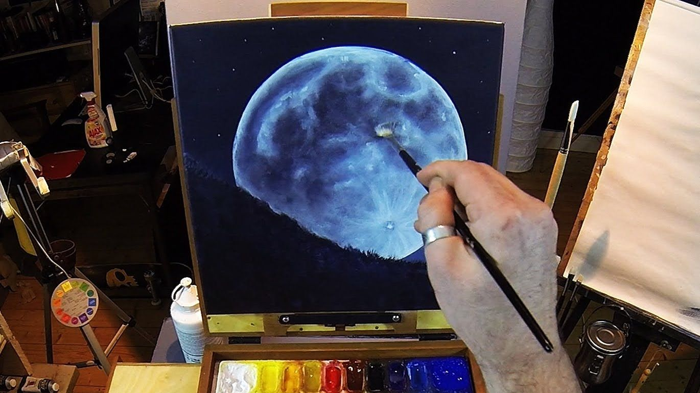how to paint a full moon acrylic painting lesson online
