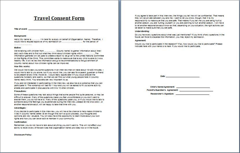 Travel Consent Form Sample  Printable Parental Consent Form Template Forms Travel For Minor  One
