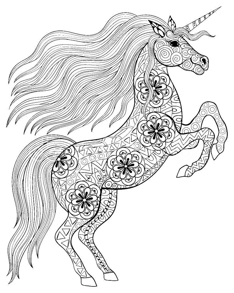 Adult Coloring Pages Unicorn | Målarböcker ...