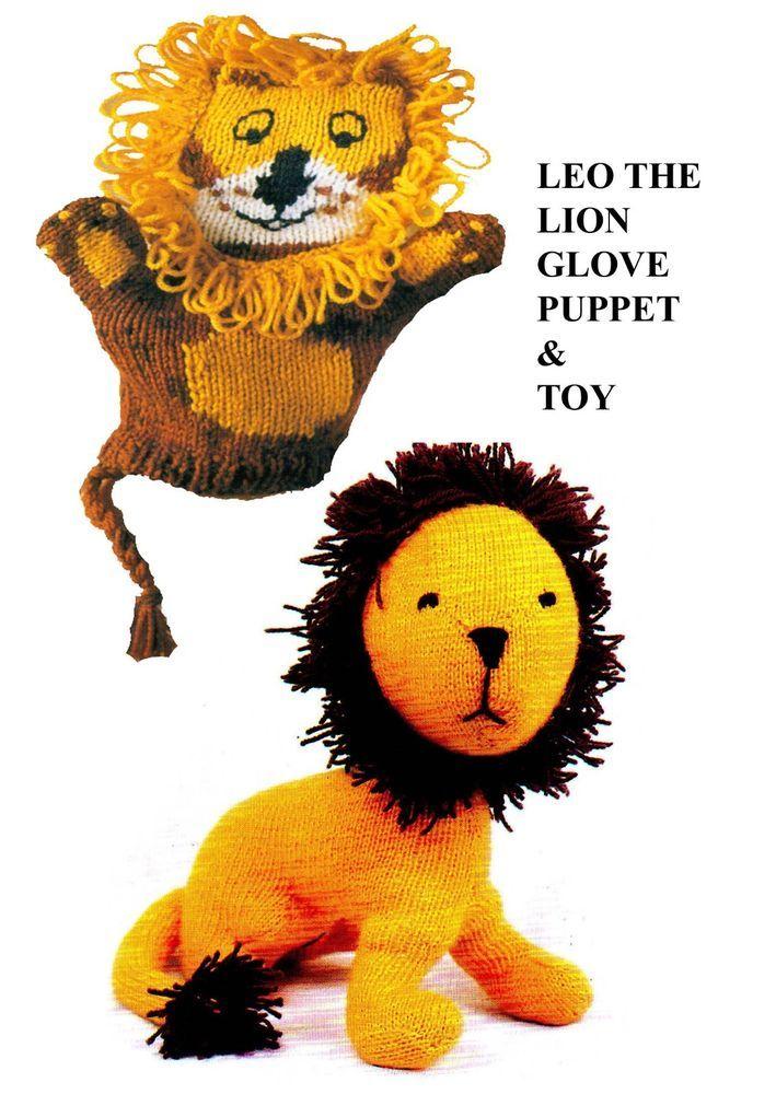 1375 Lion Toy Glove Puppet Toy To Knit Dk Yarn Knitting Pattern