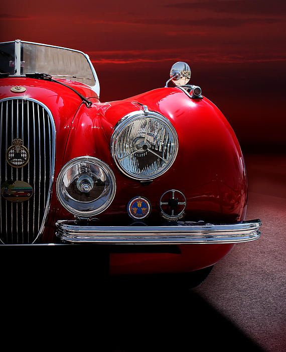1952 Jaguar Xk120 Sport Car Red Colour On Sunset By Radoslav Nedelchev Jaguar Xk120 Jaguar Classic Cars
