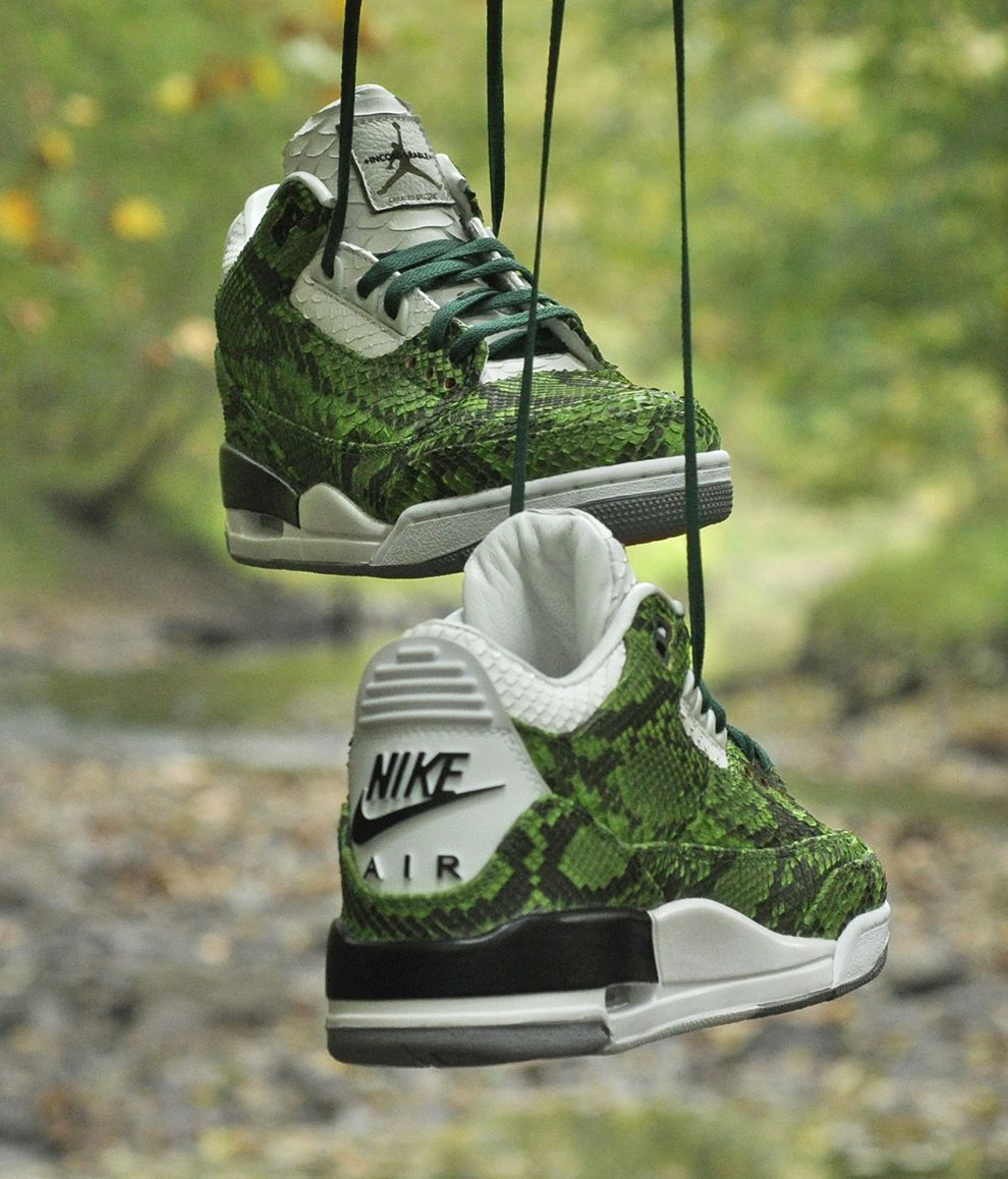"b82fae77874 ""Green Python"" Air Jordan 3 Retro Custom Sneakers Ⓙ ⍣∙₩ѧŁҝ!₦ǥ∙⍣"