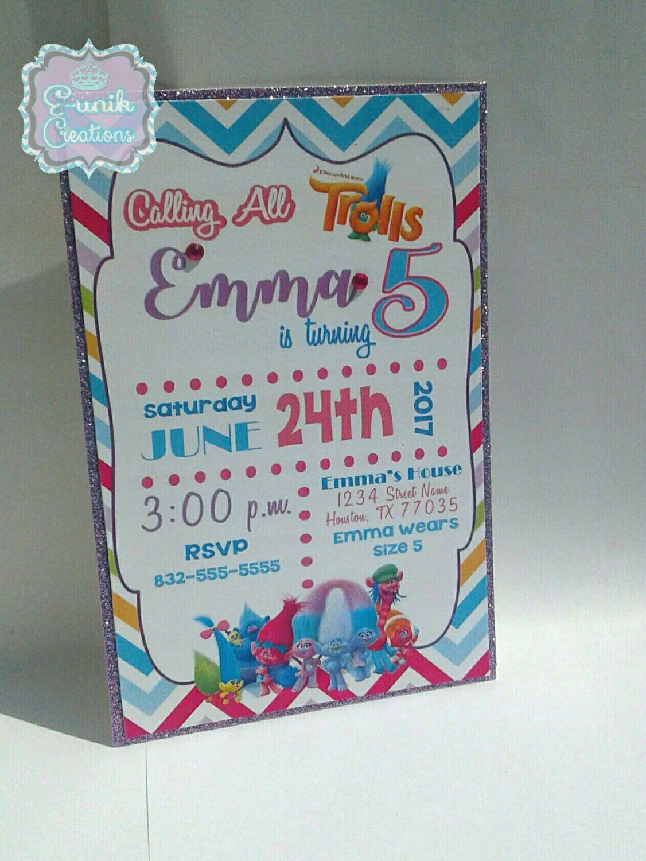 Trolls Invitations Birthday Party Invites Handmade By EunikCreations On Etsy