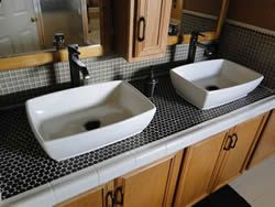 Porcelain Bathroom Sink Installed   Overmount Bathroom Sink
