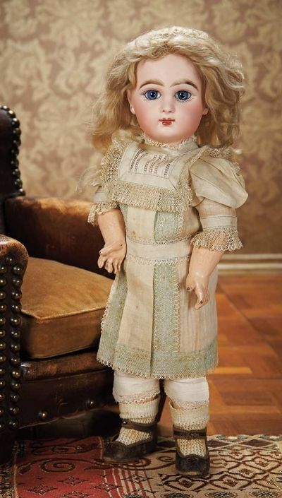 As in a Looking Glass: 220 French Bisque Bebe Jumeau in Original Chemise with Signed Jumeau Shoes