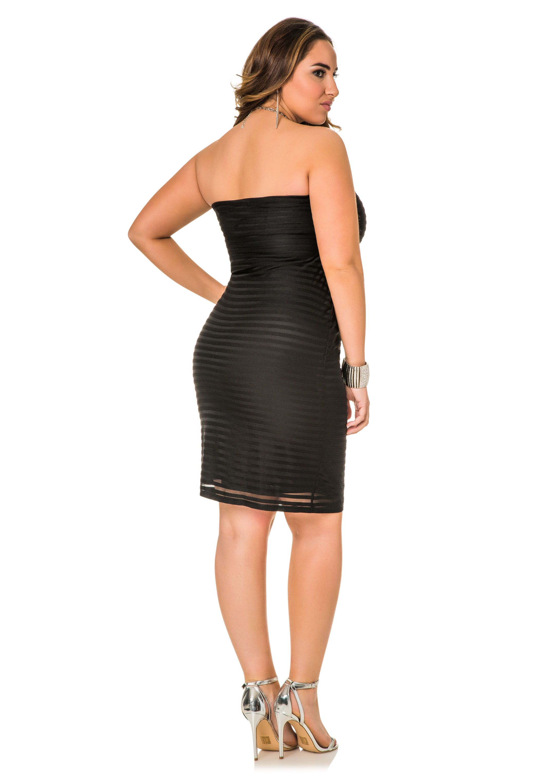 032ebedc1c5 Mesh Shadow Stripe Tube Middi Skirt - Ashley Stewart