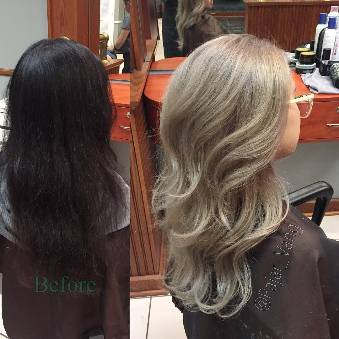 Before And After From Virgin Black Hair To Light Ash Blonde Huge
