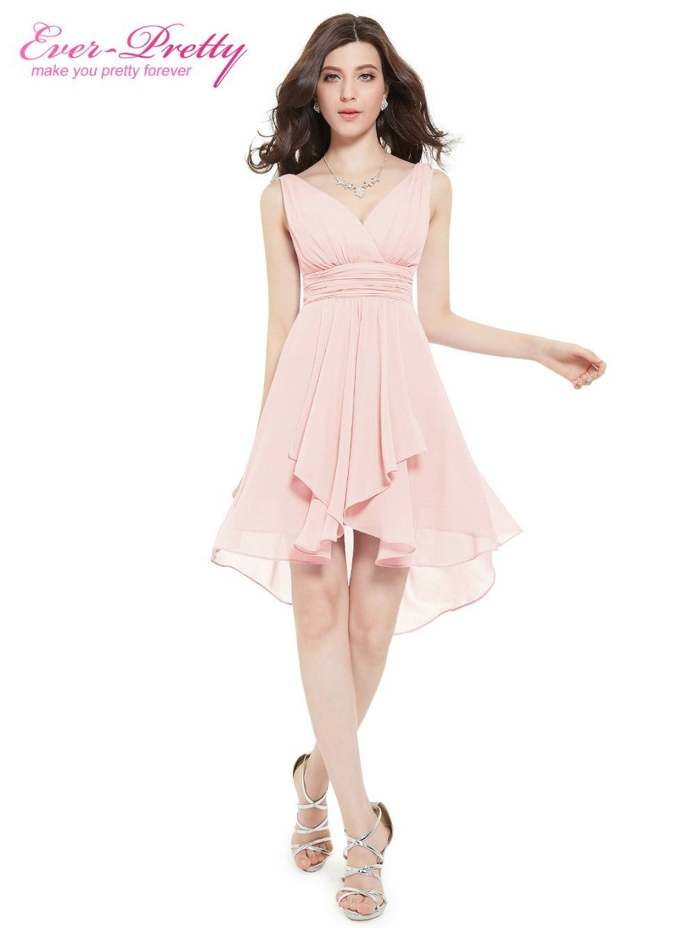 Short wedding bridesmaid dresses ever pretty coral colored ruffled v