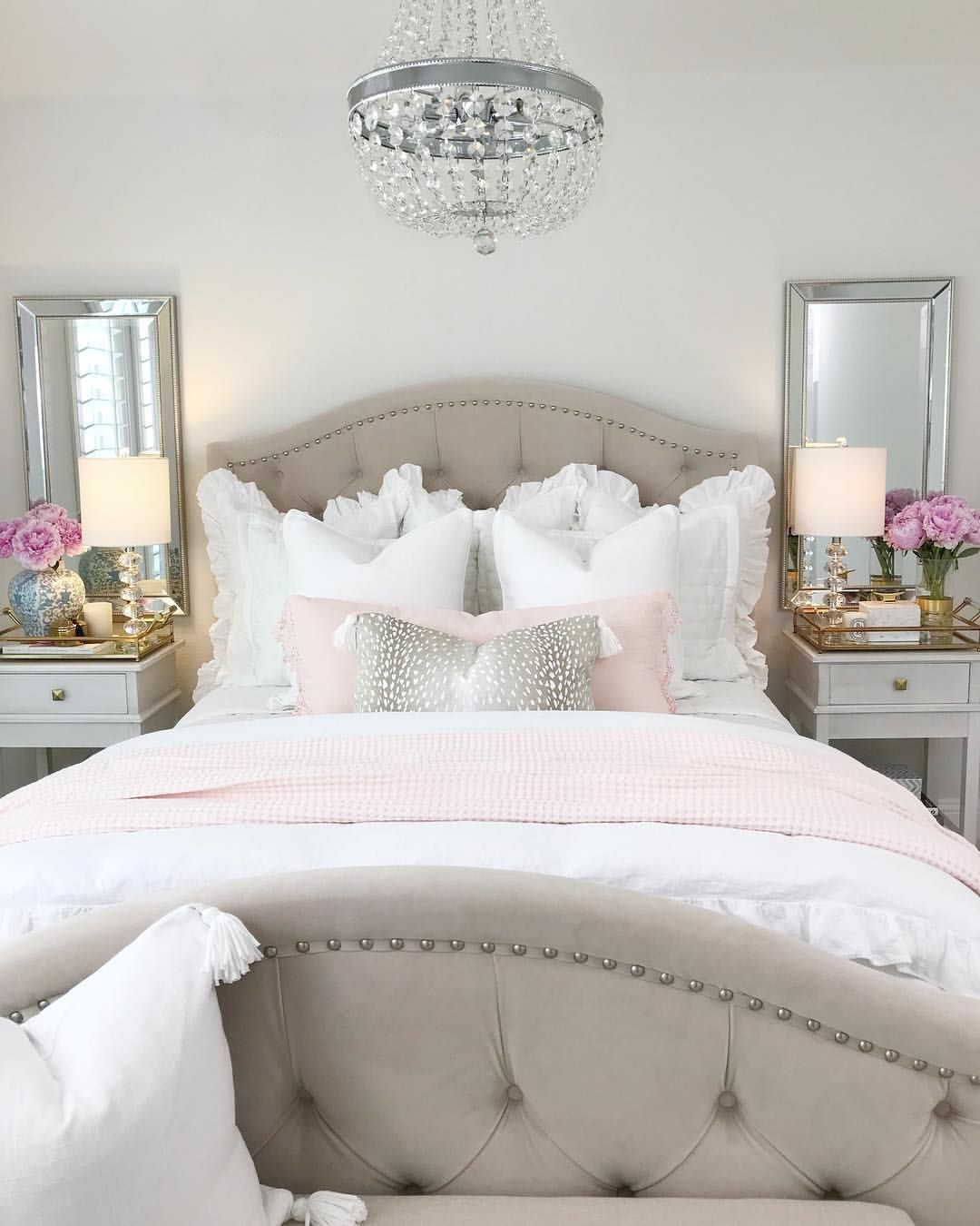 Bedroom Inspiration White Bedding Tufted Bed Bedroom Ideas