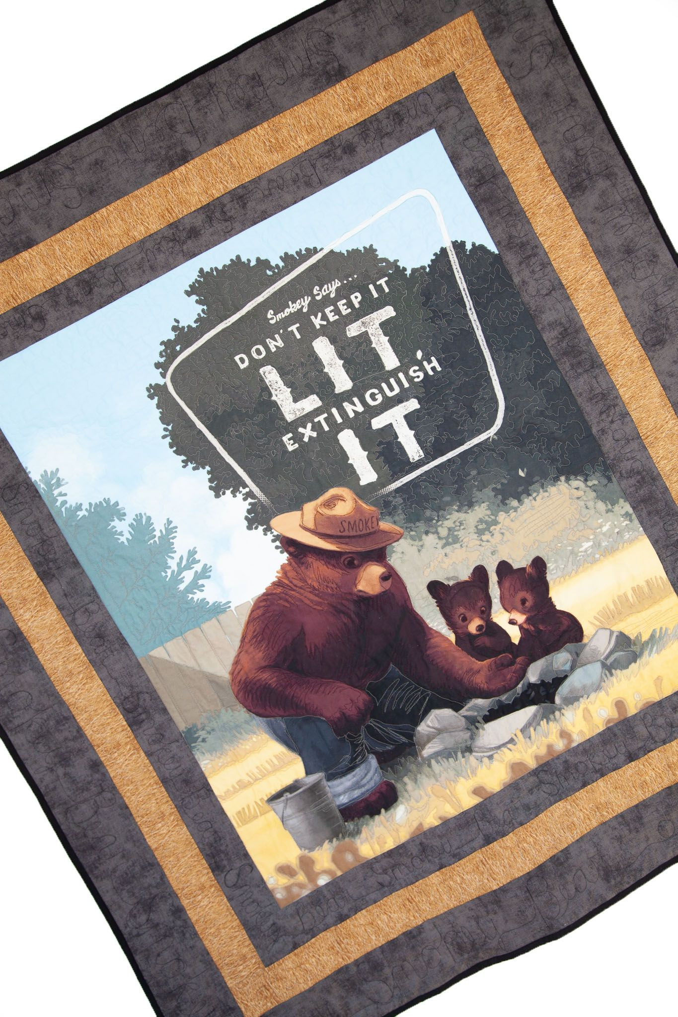 Smokey Bear Panel Quilt Free Pattern Panel Quilts Bear Quilts Panel Quilt Patterns