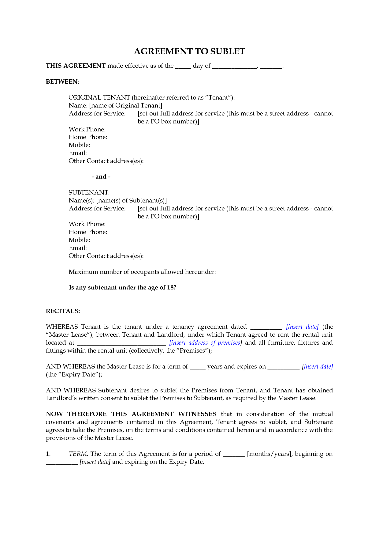 New Zealand Subletting Agreement For Residential Premises By Megadox -  Subletting Contract Template