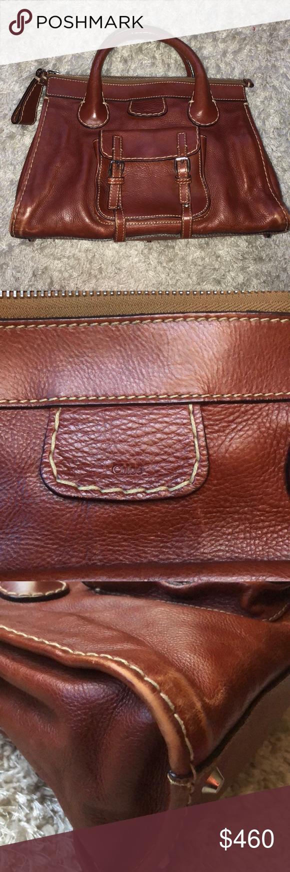 2ebfc53b851 Chloé Chloé Edith bag Very good condition Thick cream stitching Inner  canvas lining dark brown Cognac colour Zipper enclosure Interior pockets  Front pockets ...