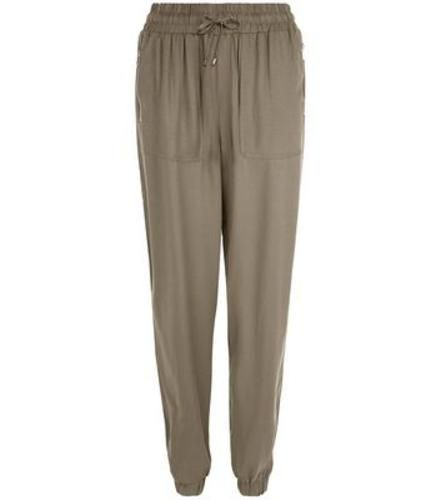 #Khaki viscose cuffed joggers  ad Euro 19.99 in #New look #Womens shop department trousers