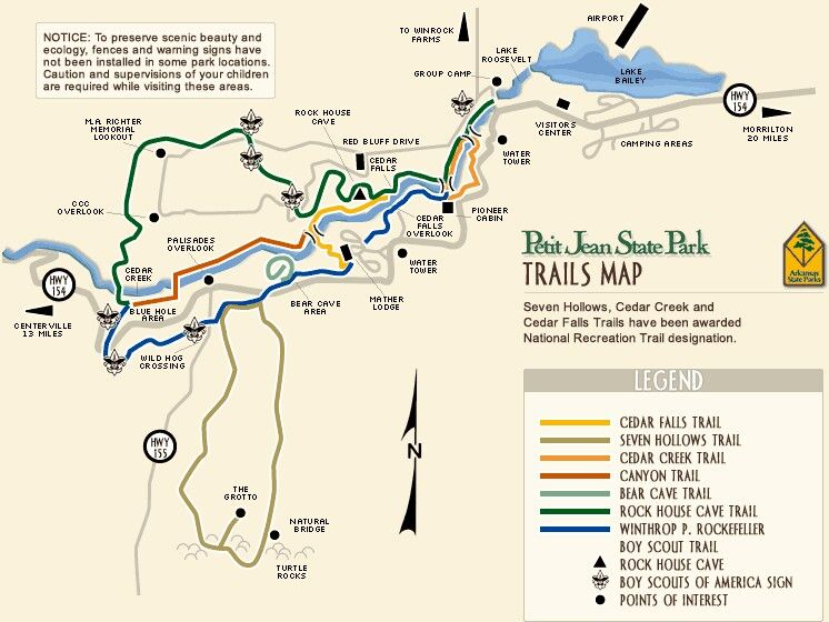 Petit Jean State Park Trail Map Hiking In 2019 Hiking