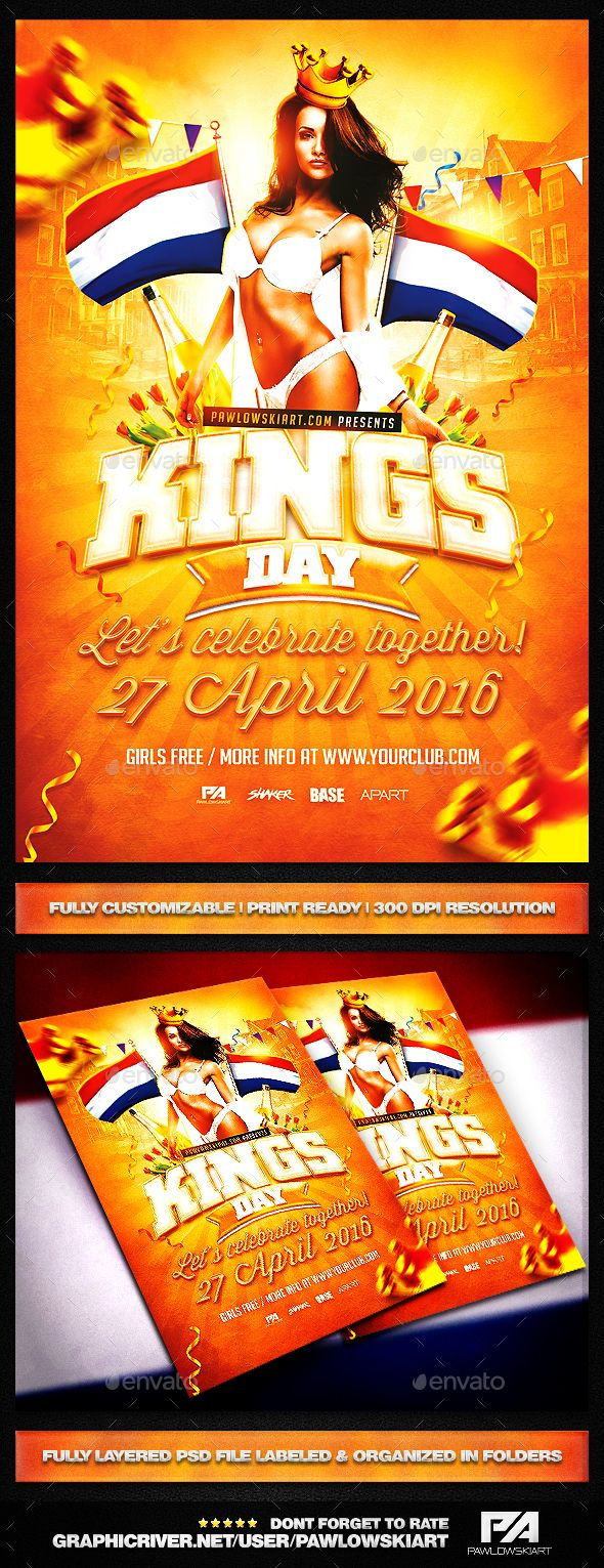 king s day koningsdag v2 party flyer template flyers holiday king s day koningsdag v2 party flyer template holidays events