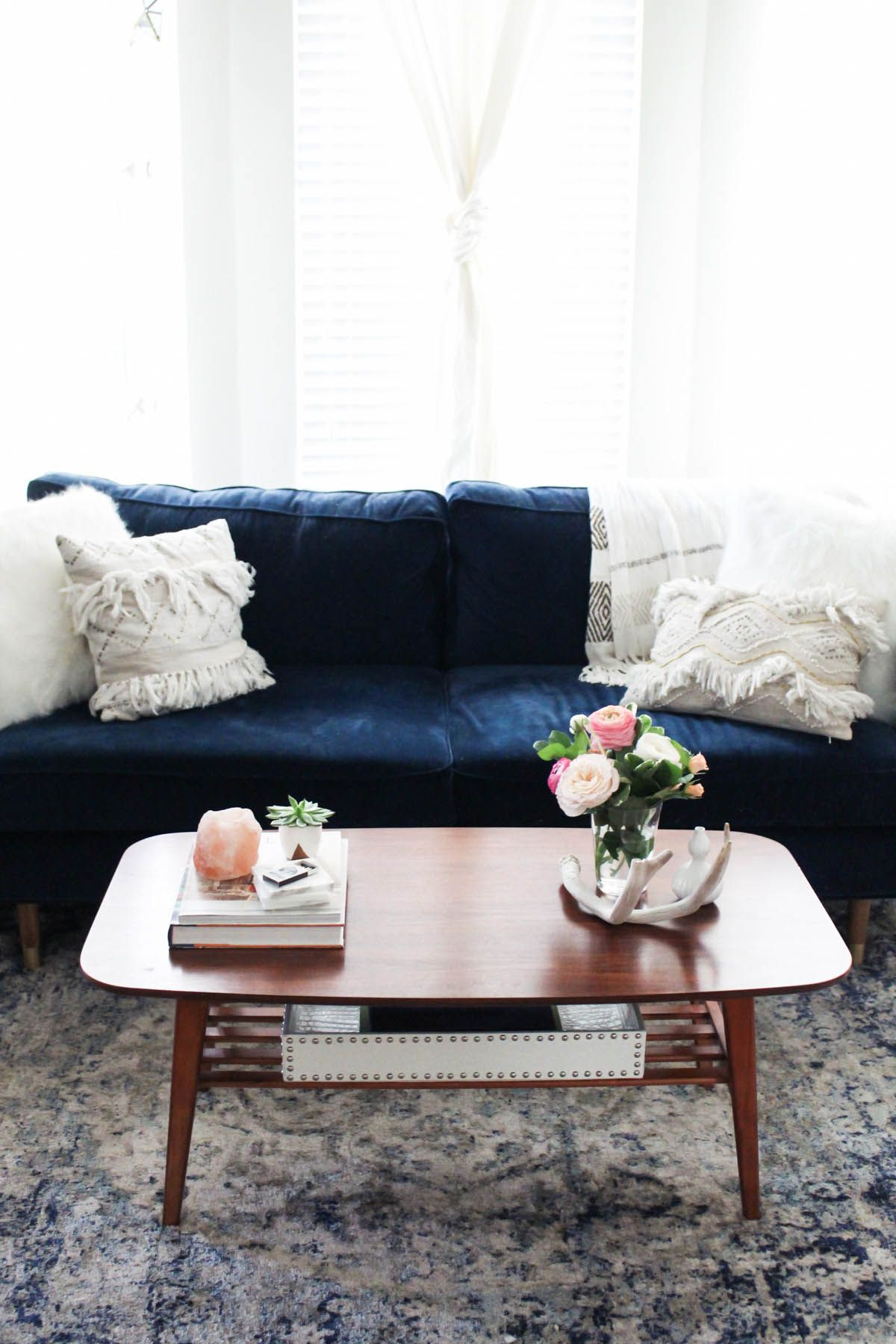 3 Ways To Style A Coffee Table Feminine Living Room Boho Living Room Couches Living Room #navy #couch #living #room #ideas