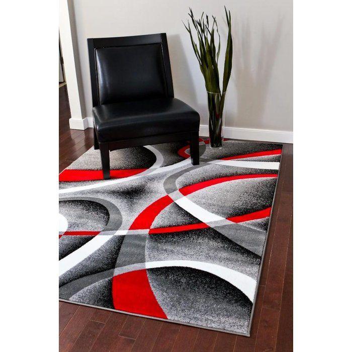 Cherine Modern Gray Red White Area Rug Stuff To Buy In 2019 Rugs