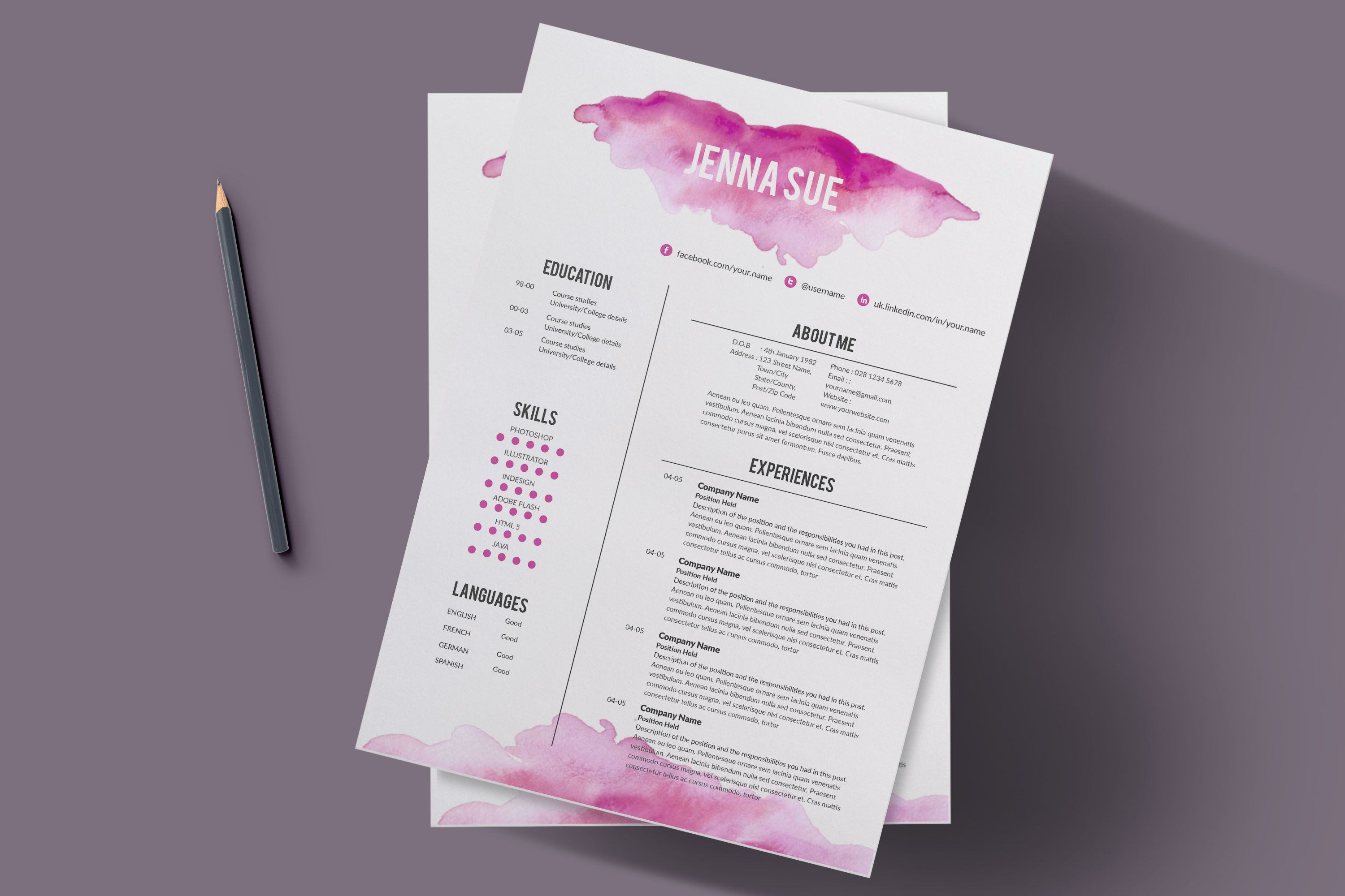 Creative Resume Template By Chic Templates On Creativemarket