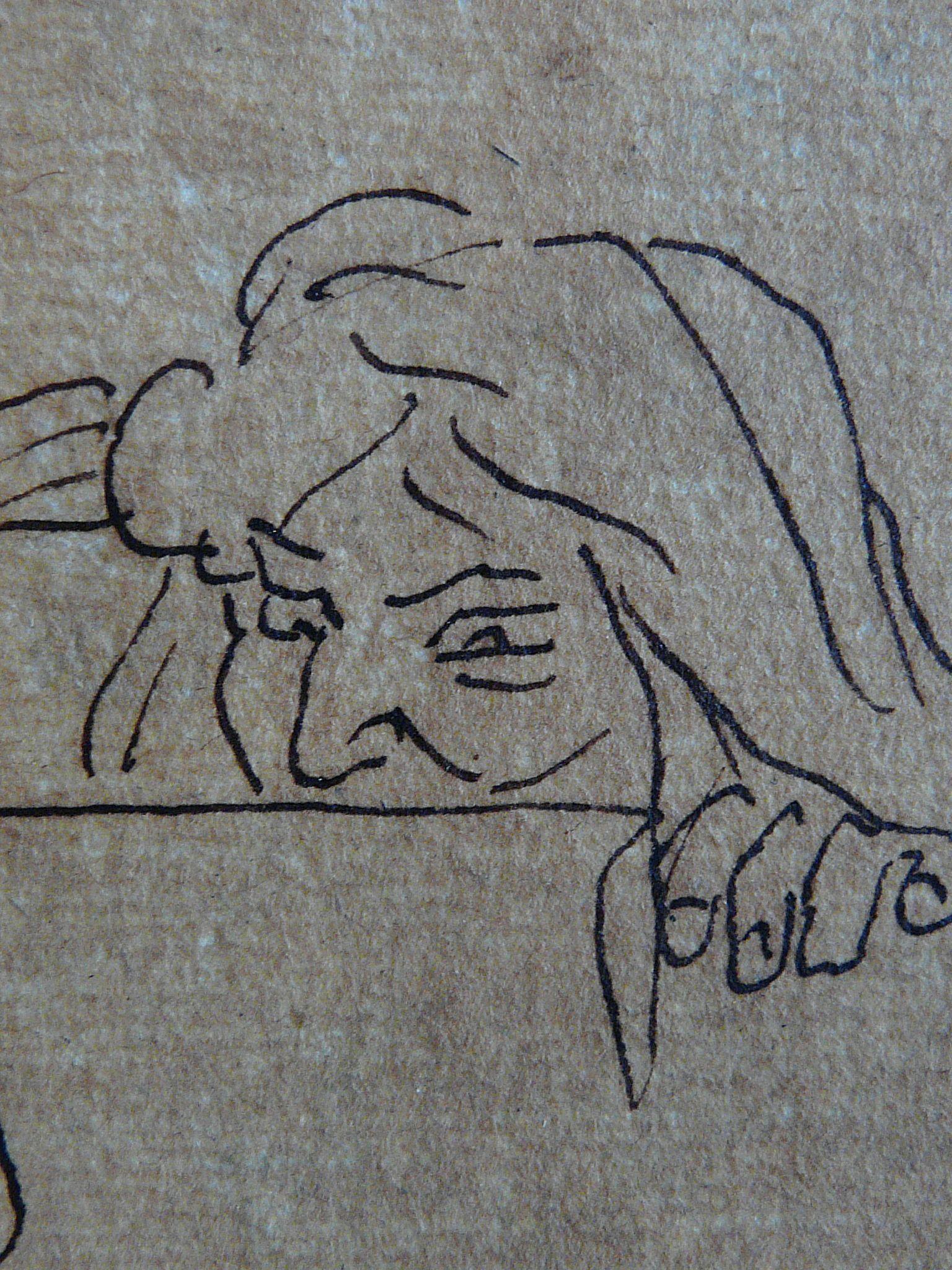 """DELACROIX Eugène,1822 - La Barque de Dante, Etude (drawing, dessin, disegno-Louvre RF9170) - Detail 1   -   TAGS : figures details détail détails """"dessins 19e"""" """"19th-century drawings"""" croquis étude study sketch sketches France bark rowboat mer tempête sea storm naufrage amitié friendship drame drama tragedy poet man men nu nude naked """"naked man"""" """"naked men"""" nudity nudité bare """"homme nu"""" survivor danger Hell nightmare cauchemar romantisme romanticism romance"""