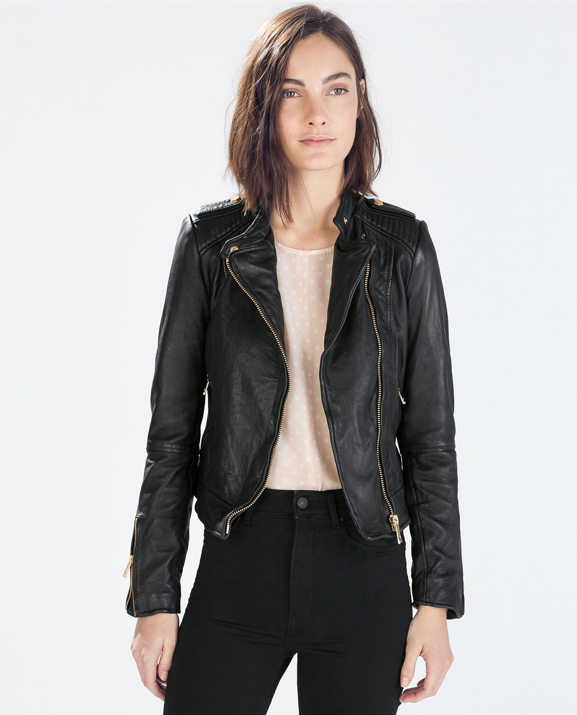 Image 2 of LEATHER BIKER JACKET from Zara maybe it will