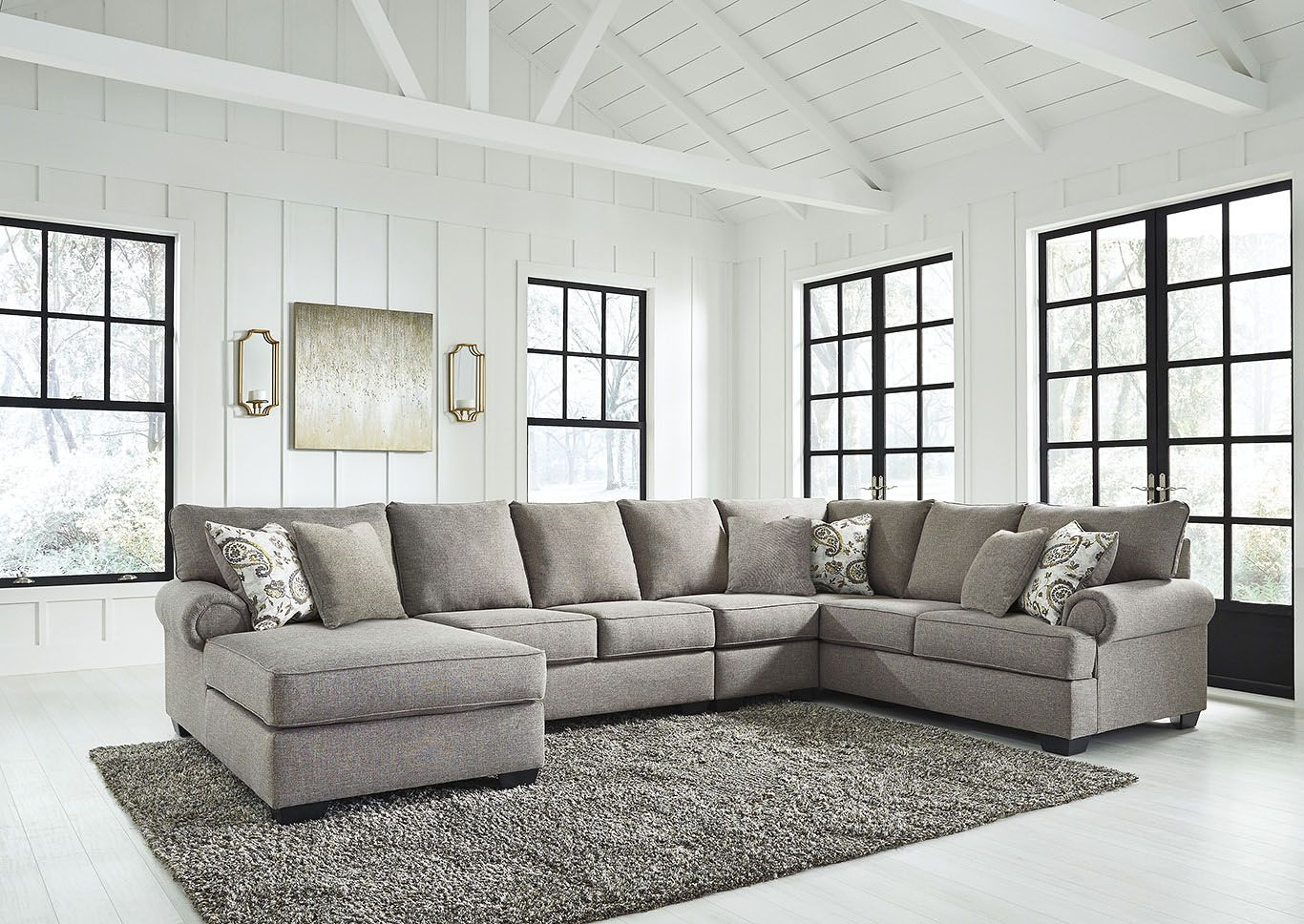 Renchen Pewter Left Arm Facing Chaise Sectional Signature Design